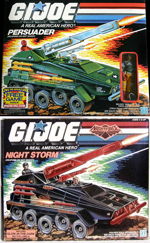 The Night Storm is the result of G.I. Joe copying itself! The Persuader got a new look for the Night Force.